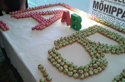A table filled with cupcakes. red cupcakes are arrange in the shape of the letter A, green cupcakes are arranged as a letter B. A real-life A/B test.