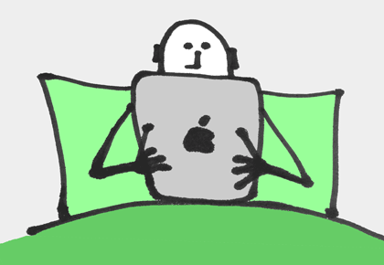illustration of a man using an iPad whilst in bed
